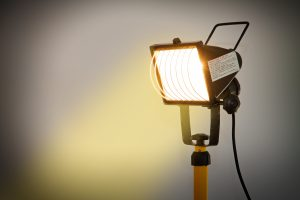 Halogen,Lamp,On,A,Building,Site